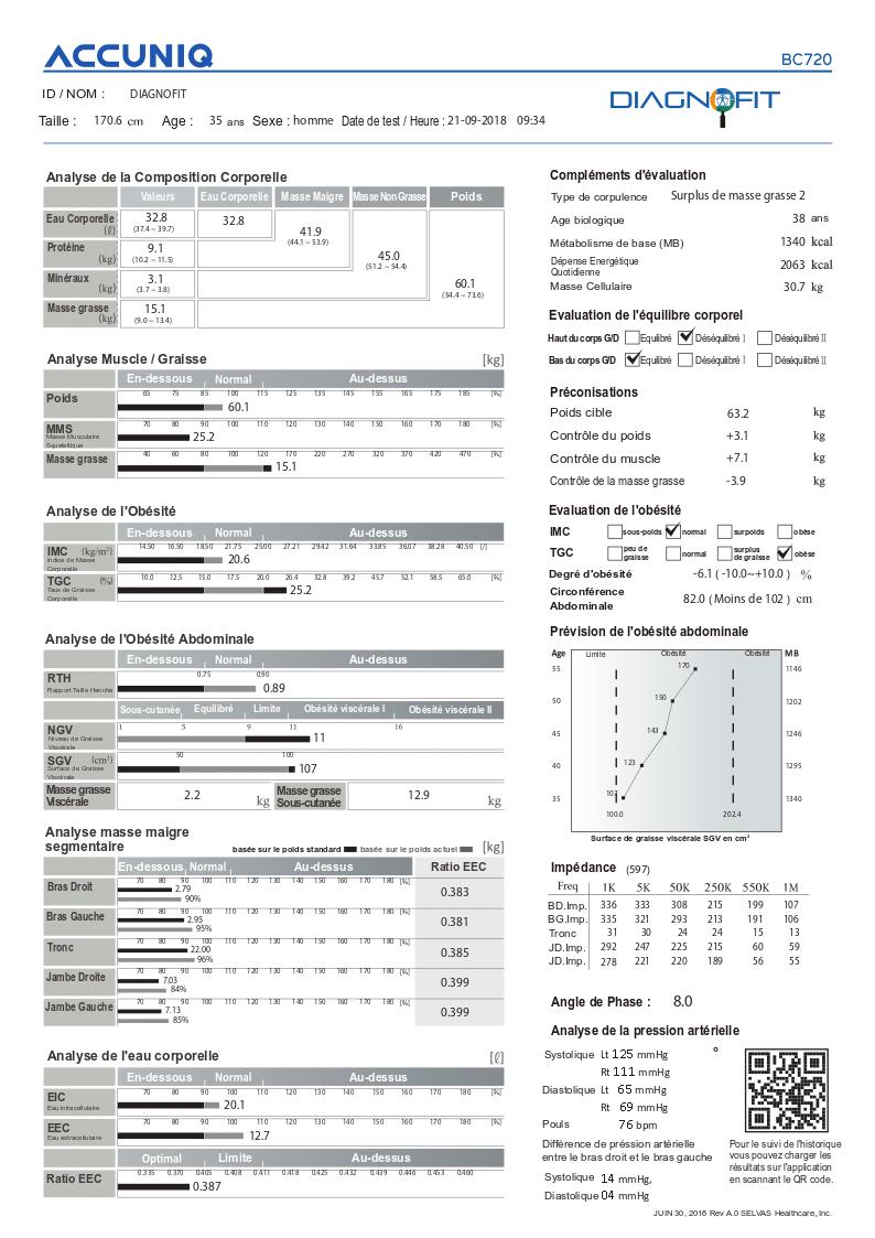 Bilan Accuniq BC720, analyseur de composition corporelle par bio impédancemétrie