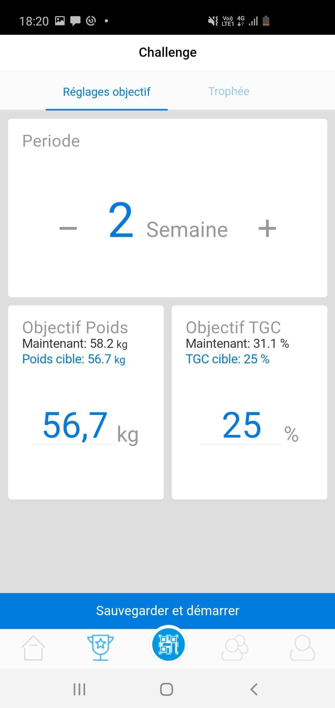 écran de l'application ACCUNIQ montrant vos objectifs
